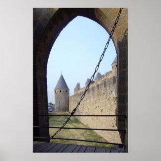 France - Carcassonne - ponte da entrada Pôster
