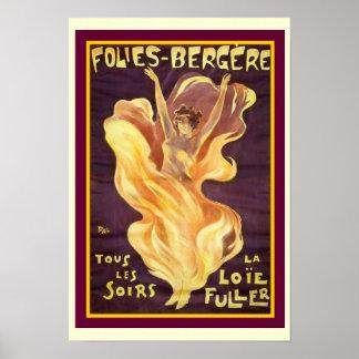 """Francês Nouveau """"Folies Bergere"""" 13 x poster 19"""