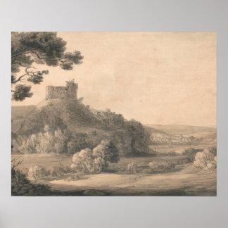 Francis Towne - castelo de Oakhampton Poster