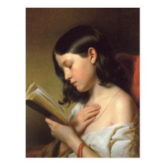 Franz Eybl - Lesendes Mädchen (menina) da leitura, Cartão Postal
