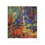 Franz Marc - cervo na jovem corça da lua 1913-14 d Cartões Postais