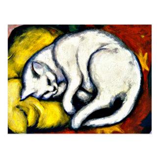 Franz Marc - gato branco. Pintura 1912 de Franz Cartão Postal