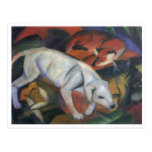 Franz Marc - três óleo do gato da raposa de cão do Cartão Postal