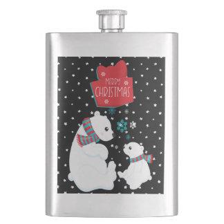 Frasco De Bebida Dois Felizes Natais dos ursos polares