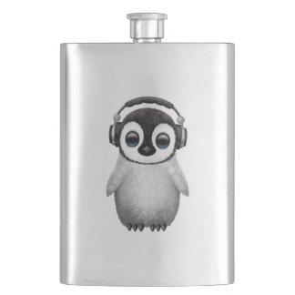 Frasco De Bebida Pinguim bonito DJ do bebê que veste fones de