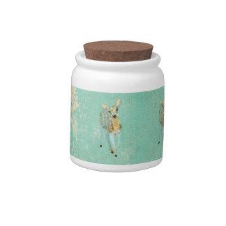 Frasco de biscoito azul dourado dos cervos do vint pote de doce