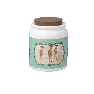 Frasco de biscoito Azure & ambarino dos girafas Pote De Doce