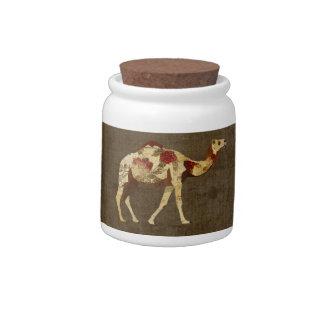 Frasco de biscoito cor-de-rosa do camelo potes de doces