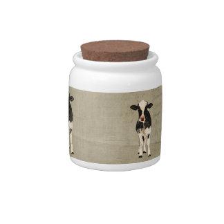 Frasco de biscoito das vacas do ônix & do marfim jarros de doces