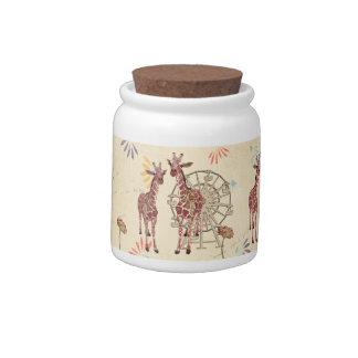Frasco de biscoito do carnaval dos girafas jarro de doce