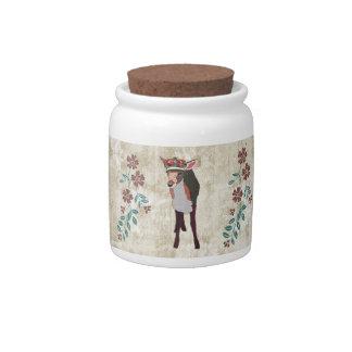 Frasco de biscoito floral branco do vintage cor-de potes de doces