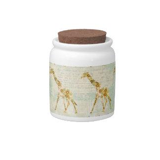 Frasco de biscoito floral do teste padrão do giraf jarro de doce