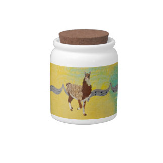 Frasco de biscoito ornamentado amarelo do lama potes de doces