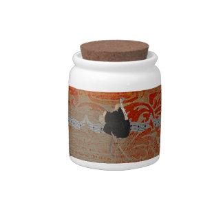 Frasco de biscoito ornamentado do damasco da avest jarros de doces