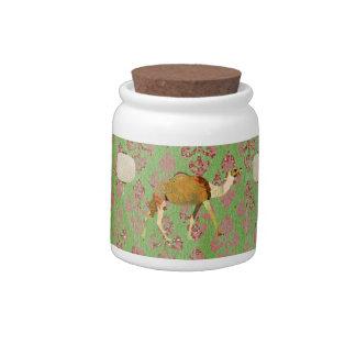 Frasco de biscoito ornamentado do rosa sonhador do jarros de doces