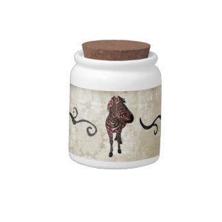 Frasco de biscoito ornamentado urbano da zebra cor potes de doces