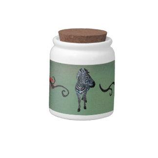 Frasco de biscoito ornamentado urbano da zebra do  jarro de doce