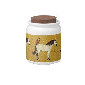 Frasco de biscoito violeta do cavalo & da coruja pote de doce