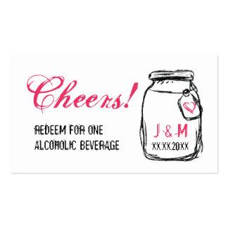 Frasco de pedreiro & bilhete cor-de-rosa da bebida cartão de visita