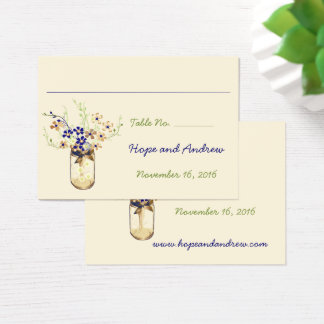 Frasco de pedreiro da flor selvagem do cobre e do cartão de visitas