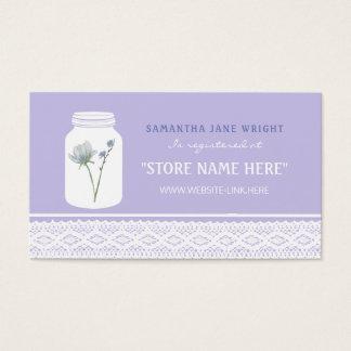 Frasco de pedreiro da flor selvagem e lista de cartão de visitas