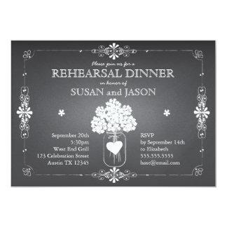 Frasco de pedreiro do jantar de ensaio do convite personalizado
