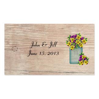 Frasco de pedreiro dos Pansies que Wedding o Tag Cartão De Visita