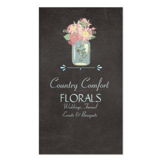 Frasco de pedreiro rústico dos rosas das cartão de visita