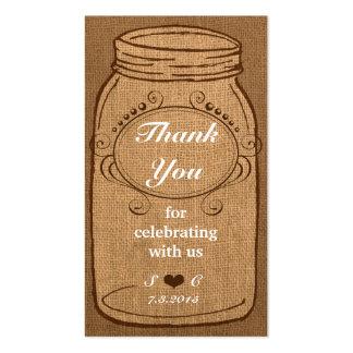 Frasco de pedreiro rústico em Tag do favor do vint Cartão De Visita