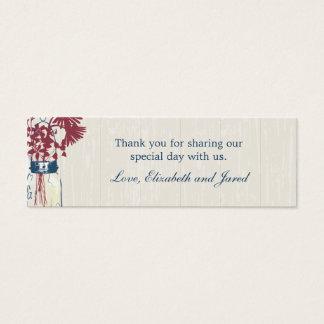 Frasco de pedreiro & Tag rústicos do favor dos Cartão De Visitas Mini