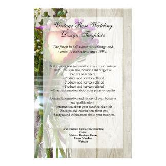 Frasco de pedreiro w/Rose e Wildflowers Flyer 13.97 X 21.59cm