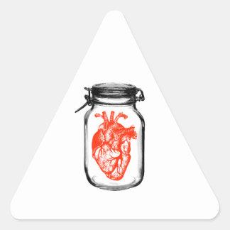 Frasco do coração adesivo triangular