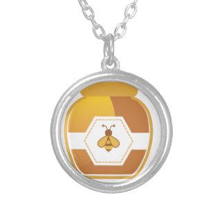 Frasco do mel colar banhado a prata