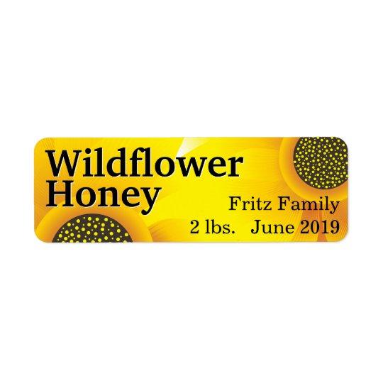 Frasco dourado do mel do Wildflower Etiqueta Endereço De Retorno