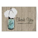 Frasco e Hydrangeas azuis rústicos de pedreiro Cartão