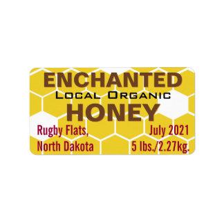 Frasco orgânico local Enchanted do mel Etiqueta De Endereço