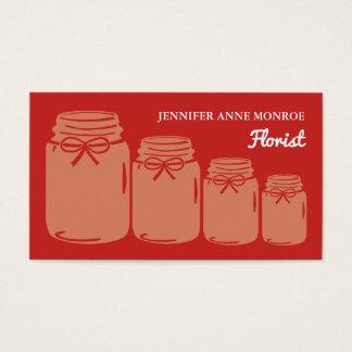 Frascos de pedreiro do país, florista cartão de visitas