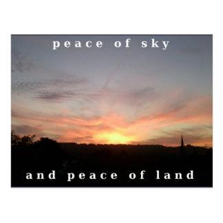 Fraseio da paz da explosão do por do sol do cartão