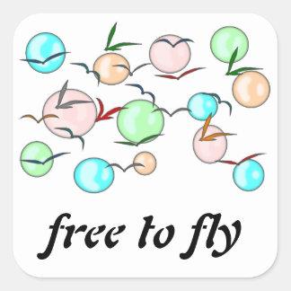Free to fly adesivo em forma quadrada