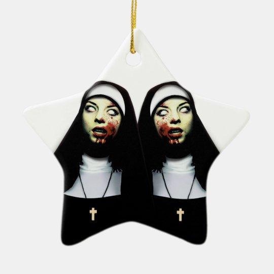 Freiras do horror ornamento de cerâmica estrela