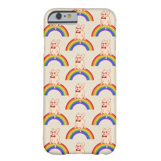 Frenchie comemora o mês do orgulho no arco-íris de capa barely there para iPhone 6