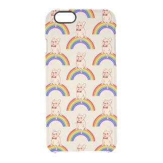 Frenchie comemora o mês do orgulho no arco-íris de capa para iPhone 6/6S transparente
