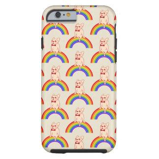 Frenchie comemora o mês do orgulho no arco-íris de capa tough para iPhone 6