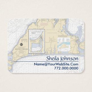 Fresco limpo da carta náutica do Martha's Vineyard Cartão De Visitas