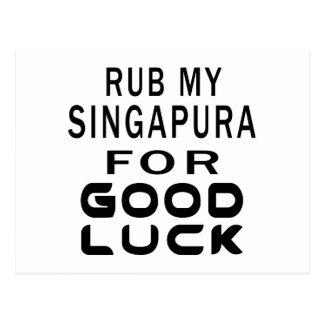 Friccione meu gato de Singapura para a boa sorte Cartão Postal