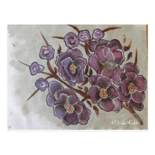 Frida Kahlo pintou flores Cartao Postal