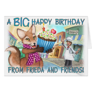 Frieda ata o cartão de aniversário