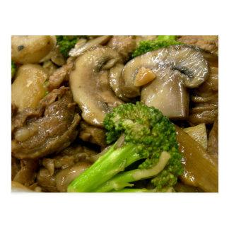 Fritada do stir da carne, dos brócolos & do cartão postal