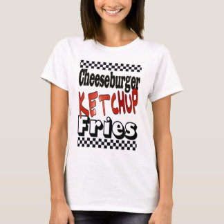 Fritadas da ketchup do cheeseburger camiseta