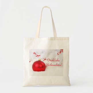 Frohliche vermelho e branco Weihnachten do Natal Bolsa Para Compras